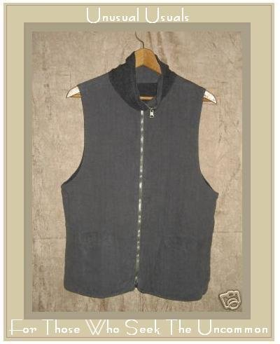 CLICK Gray Linen Reversible Vest Jacket X-SMALL XS