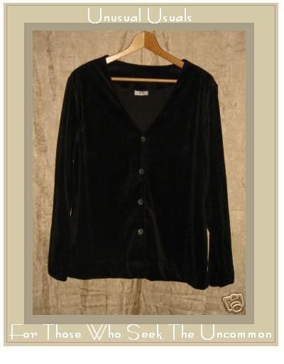 JMK Rich Chocolate Brown Velour Button Jacket Top Small Medium S M