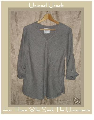 FLAX by Jeanne Engelhart Linen Diagonal Pocket Shirt Tunic Top Petite P