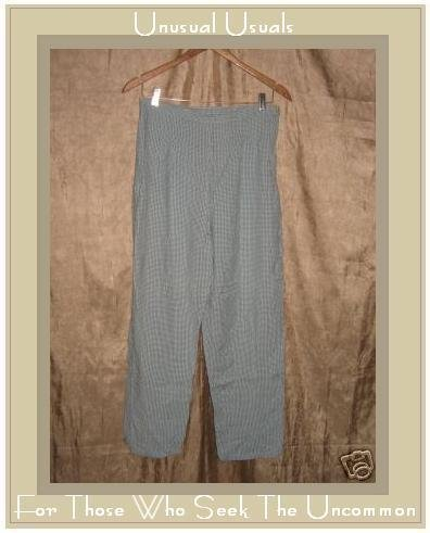 PUTUMAYO Blue check Rayon Cotton Side Zip Capri Pants LARGE L