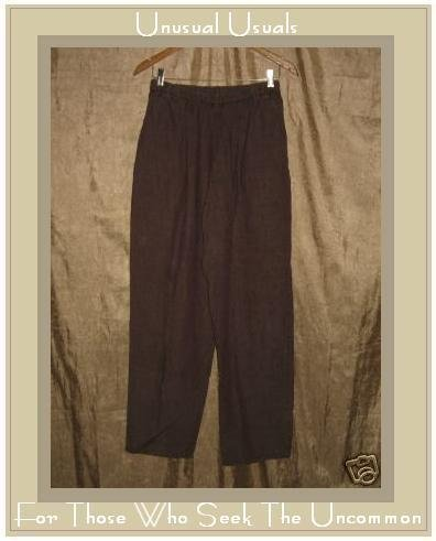 Jeanne Engelhart FLAX Rich Brown LINEN Straight Pants MEDIUM M