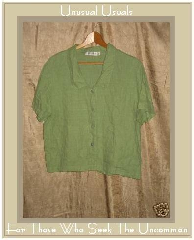 CUT LOOSE Leafy Green LINEN Button Shirt Top X-Large XL