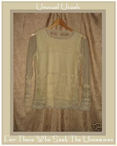 April Cornell Romantic Ivory Lace Layered Tunic Top Shirt Small S