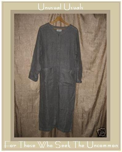Eileen Fisher Long Gray Linen Duster Jacket Small Medium S M