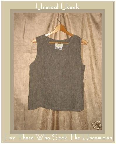 FLAX Jeanne Engelhart Earthy Linen Pullover Shirt Tank Top Small S