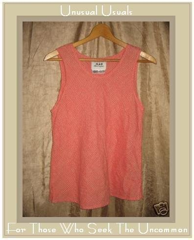 FLAX Jeanne Engelhart Puckered Linen Pullover Shirt Tank Top Small S