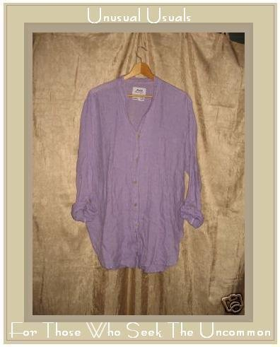 FLAX by Jeanne Engelhart Purple Striped Linen Shirt Tunic Top Petite P