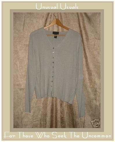 SIGRID OLSEN Soft Gray Rayon Button Cardigan Sweater LARGE L