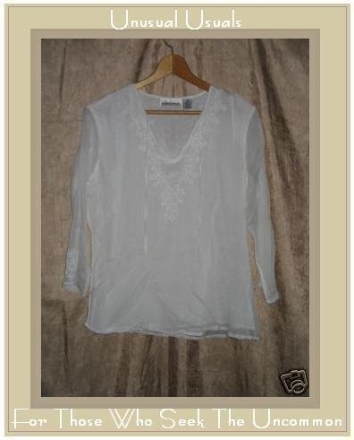 New York City Design Co. White Silk Tunic Shirt Top MEDIUM M