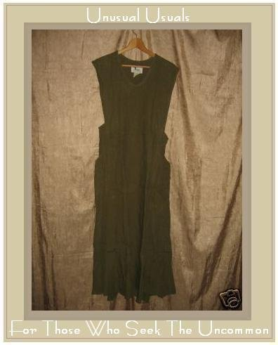 FLAX by Jeanne Engelhart OLIVE LINEN Jumpment Dress SMALL S