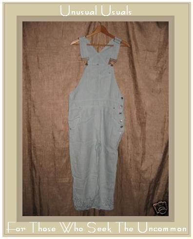 SUBTLE TONES Blue Embroidered LINEN Overalls Pants XS