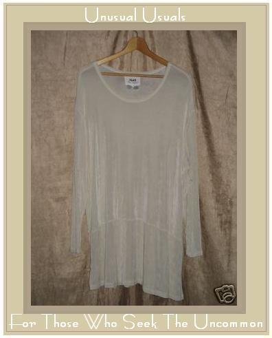 Jeanne Engelhart FLAX White Skirted Tunic Top Shirt LARGE L