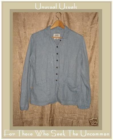 FLAX by Jeanne Engelhart LINEN Shapely Snappy Jacket Top Petite P