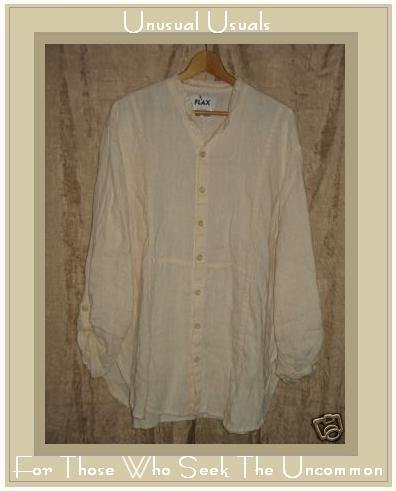 FLAX by Jeanne Engelhart Cream Textured Linen Shirt Tunic Top Small S