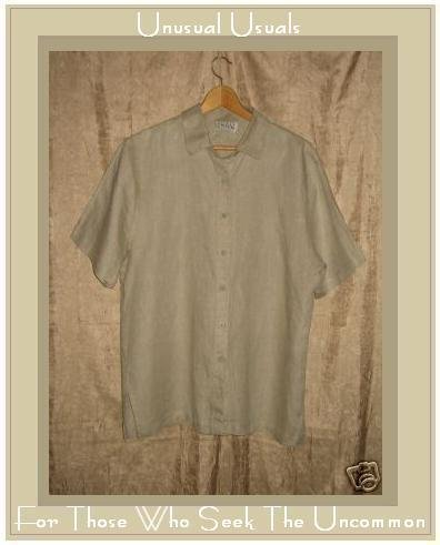 EILEEN FISHER Linen Button Top Shirt Large L