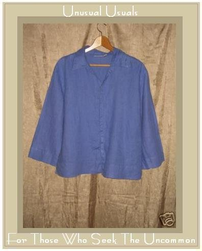 Chico's Design Blue LINEN Button Shirt Top Size 2 Large L
