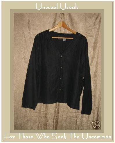 Chico's Design Black LINEN Button Jacket Top Size 3 X-Large XL