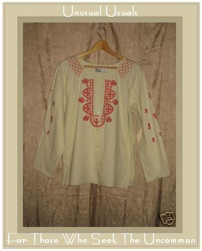 Adrain Delafield for Haband Red Embroidered Button Shirt Tunic Top L