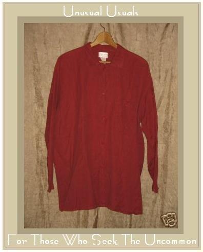 FLAX by Angelheart Jeanne Engelhart RED Linen Cotton Button Shirt Top Medium M