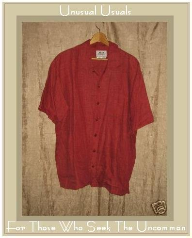 FLAX by Jeanne Engelhart Red LINEN Button Shirt Top Medium M
