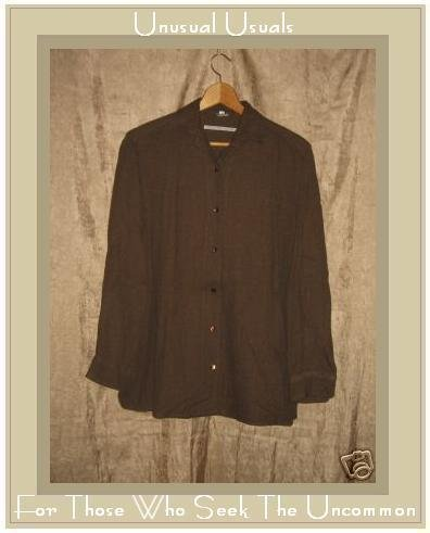 MORENO MARTINI DA FIRENZE Brown Button Shirt Top Medium M