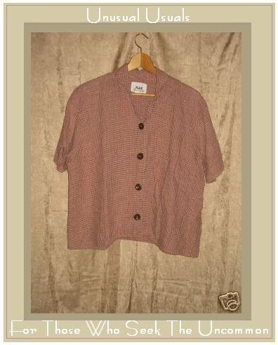 FLAX by Jeanne Engelhart Plaid LINEN Button Shirt Top Medium M