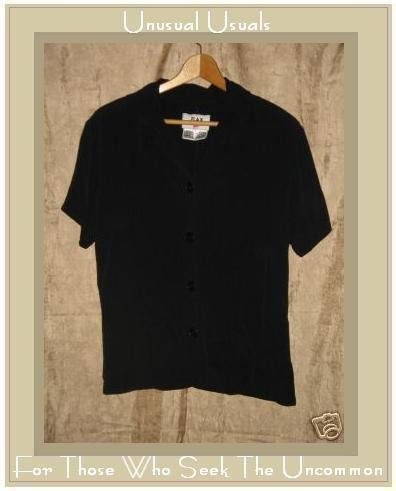 FLAX by Jeanne Engelhart Black Rayon Button Shirt Top Small S