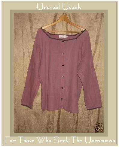 Silhouettes Long Purple Button Front Tunic Top Shirt 1X