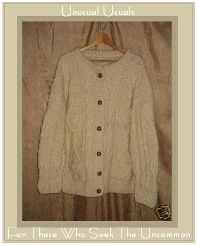 Fisherman Style Cream Wool Aran Knit Cardigan Sweater Large L