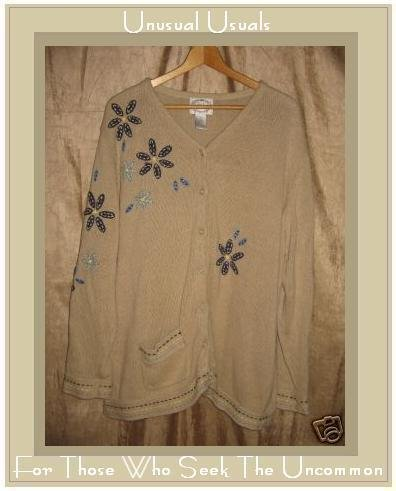 Stitches in Time Ramie Cotton Cardigan Sweater 1X