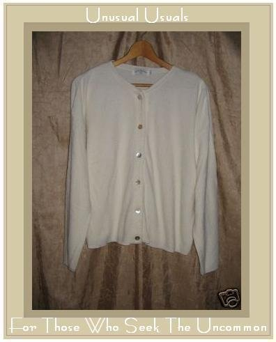 United Knitwear White Button Cardigan Sweater Large L
