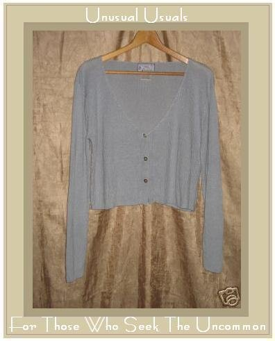 April Cornell Soft Blue Button Cardigan Shirt Top Small S