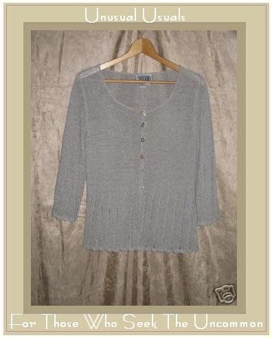 Curio Slinky Gray Button Cardigan Shirt Top Small S