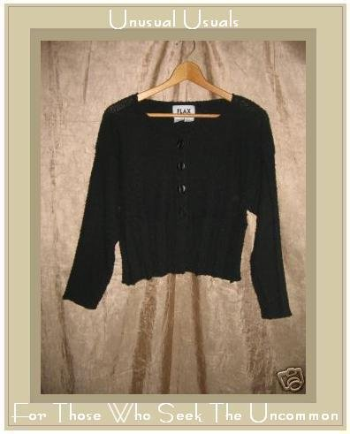 FLAX by Angelheart Jeanne Engelhart Black Cropped Cardigan Sweater S M