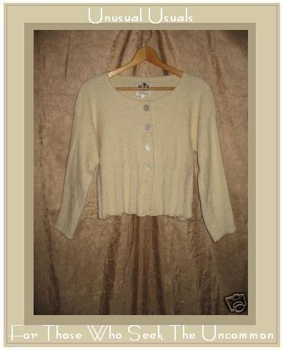 FLAX by Angelheart Jeanne Engelhart Cream Cropped Cardigan Sweater S M