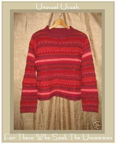 J. Jill Soft Handknit Striped Red Silk Knit Pullover Sweater Top Small S