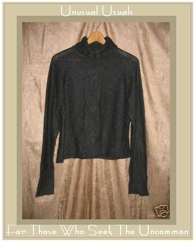 Via Seta Soft Gray Silk Cashmere Turtleneck Tunic Sweater Large L