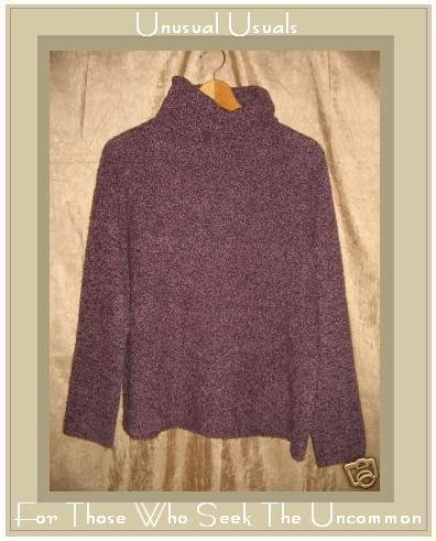 EILEEN FISHER Soft Purple Wool Cashmere Turtleneck Tunic Sweater Medium M