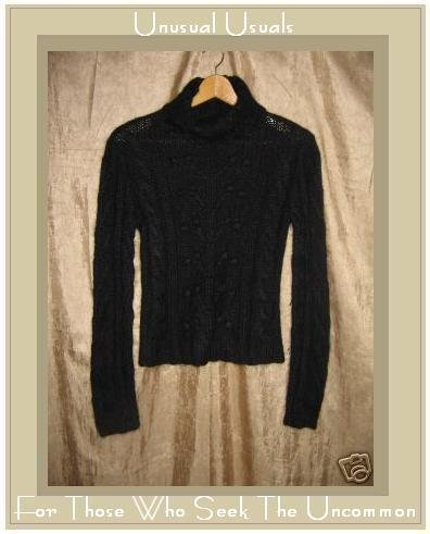 Kenji Naturals Hand Knit Soft Black Turtleneck Tunic Sweater Medium M