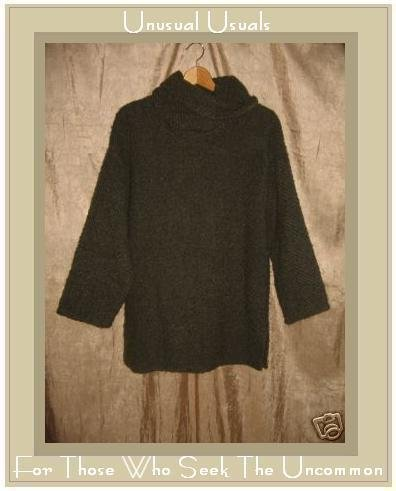 Weave O' The Irish Handcrafted Aran Turtleneck Sweater Deep Forest Green Wool Small S