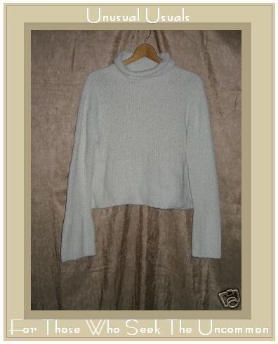 Lauren Hansen Soft White Nubby Turtleneck Tunic Sweater Medium M