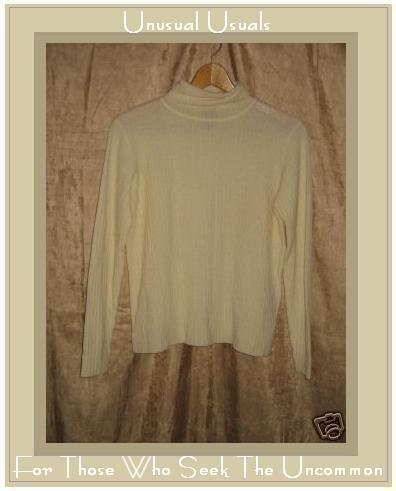 EILEEN FISHER Slinky Cream Wool Turtleneck Tunic Sweater PS Petite Small