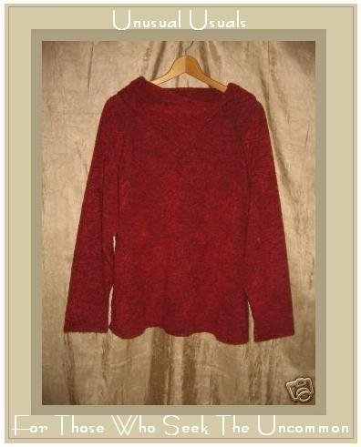 Coldwater Creek Soft Nubby Red Split Turtleneck Tunic Top Sweater 2X