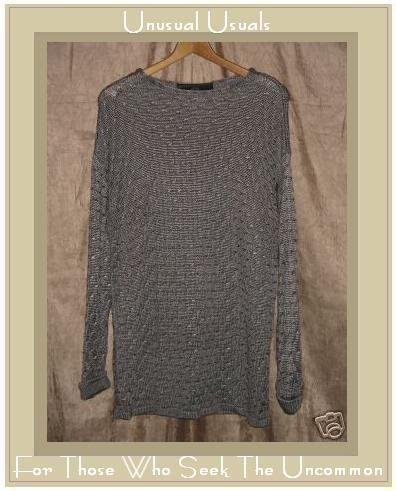Foret De Framboise Weighty Silver Knit Pullover Sweater Top Medium M