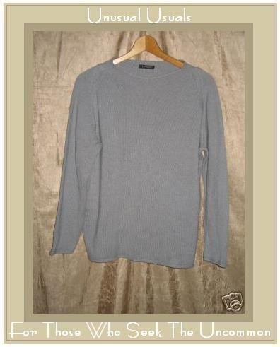 Premode Soft Gray Cashmere Knit Pullover Sweater Top Medium M