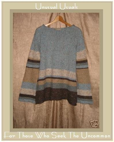Cotton Ginny Brown & Blue Stiped Knit Pullover Sweater Top Large L