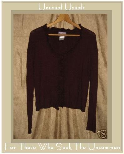 April Cornell Soft Burgundy Ruffle Front Cardigan Sweater Top Medium M