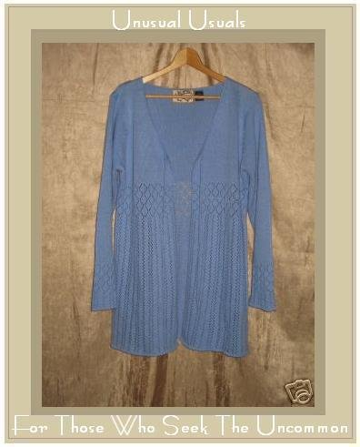 Heirloom Collectibles Soft Blue Open Cardigan Top Large L