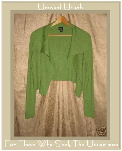EILEEN FISHER Soft Green Merino Wool Open Cardigan Sweater Small S