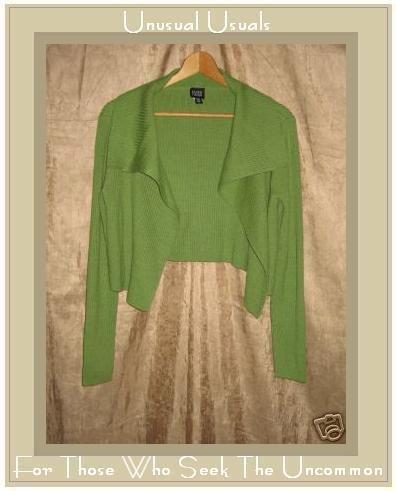 EILEEN FISHER Soft Green Merino Wool Open Cardigan Sweater Small S
